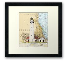 Grosse Pt Lighthouse IL Nautical Chart Cathy Peek Framed Print