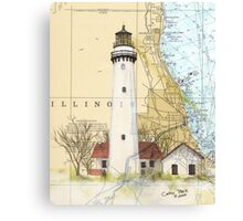 Grosse Pt Lighthouse IL Nautical Chart Cathy Peek Canvas Print