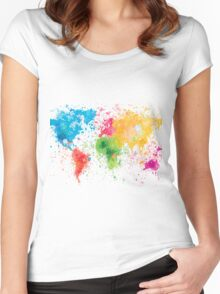 world map painting Women's Fitted Scoop T-Shirt