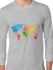 world map painting Long Sleeve T-Shirt