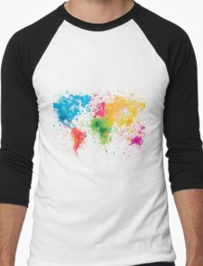 world map painting Men's Baseball ¾ T-Shirt