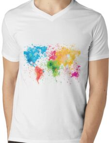 world map painting Mens V-Neck T-Shirt