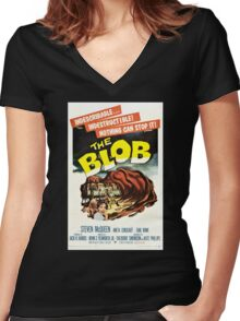 The Blob Vintage Movie Women's Fitted V-Neck T-Shirt