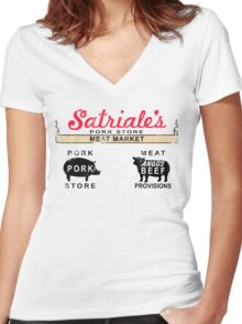 Satriale's Distressed Tee Women's Fitted V-Neck T-Shirt