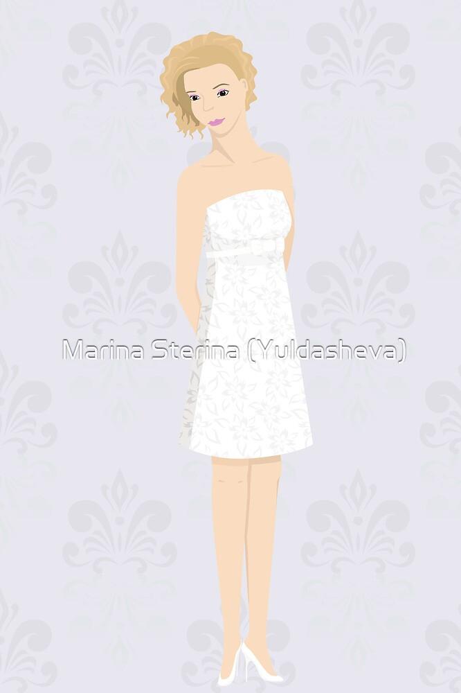 bride in mini dress by Marishkayu