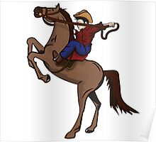 Rodeo Cowboy Riding Horse Poster