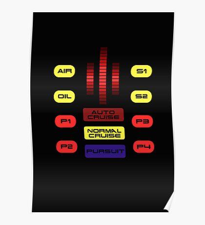 Knight Rider KITT Car Dashboard Graphic Poster