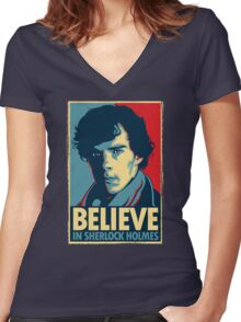 Believe in Sherlock Holmes Women's Fitted V-Neck T-Shirt
