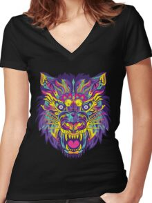 Rainbow Tiger Women's Fitted V-Neck T-Shirt