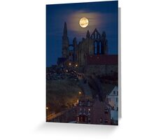 Super Moon Rise over Whitby Abbey North Yorkshire Dracula  Greeting Card