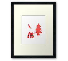 Santa and Christmas tree Framed Print