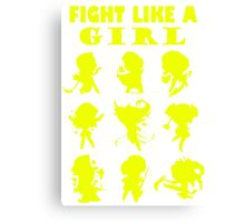 League of Legends Fight Like A Girl Yellow Canvas Print