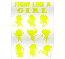 League of Legends Fight Like A Girl Yellow Poster