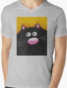Fat Cat in yellow Mens V-Neck T-Shirt