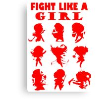 League of Legends Fight Like A Girl RED Canvas Print