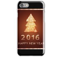 Christmas greeting card with tree retro light banner.  iPhone Case/Skin