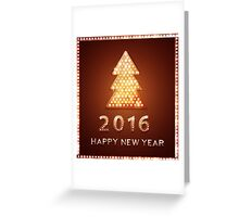 Christmas greeting card with tree retro light banner.  Greeting Card