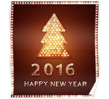 Christmas greeting card with tree retro light banner.  Poster