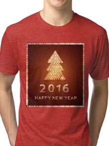 Christmas greeting card with tree retro light banner.  Tri-blend T-Shirt