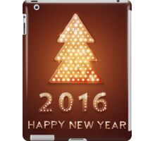 Christmas greeting card with tree retro light banner.  iPad Case/Skin