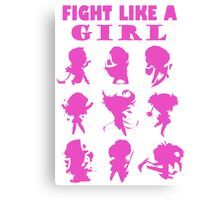 League of Legends Fight Like A Girl Pink Canvas Print