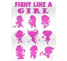 League of Legends Fight Like A Girl Pink Poster
