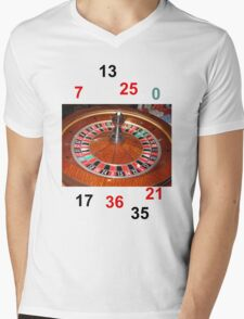 Roulette casino wheel chips and numbers Mens V-Neck T-Shirt