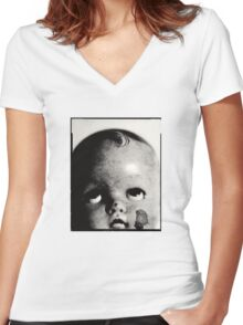 Baby Doll Head  Women's Fitted V-Neck T-Shirt