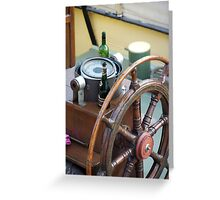 Champagne and wine bottle next to ships wheel, Brest 2008 Maritime Festival, Brittany, France Greeting Card