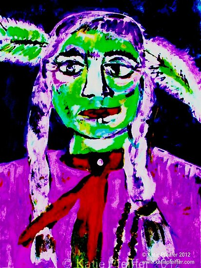 Pop Art Native American Indian  Portrait #2 by Kater