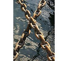 Crossed rusty ship chains in harbour, Brest, France Photographic Print