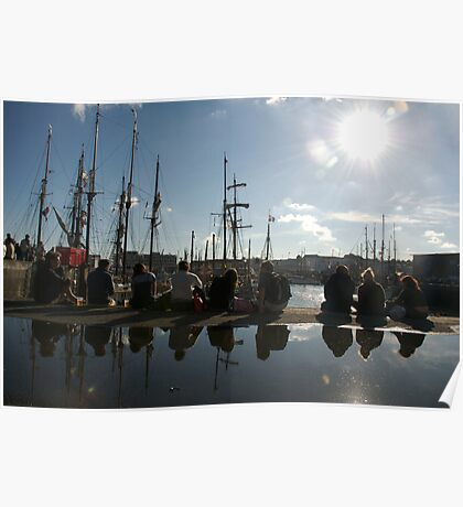 People relaxing on the harbourside with tall ships masts behind, Brest 2008 maritime festival, France Poster