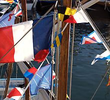 French tricolore and flag pennants on boat mast, Brest 2008 maritime festival, France by silverportpics