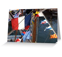 French tricolore and flag pennants on boat mast, Brest 2008 maritime festival, France Greeting Card