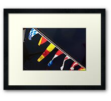 Colourful flag pennants with ships rigging reflected in water, Brest 2008 maritime festival, France Framed Print