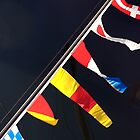 Colourful flag pennants with ships rigging reflected in water, Brest 2008 maritime festival, France by silverportpics