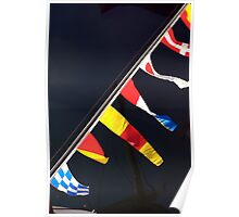 Colourful flag pennants with ships rigging reflected in water, Brest 2008 maritime festival, France Poster