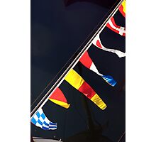 Colourful flag pennants with ships rigging reflected in water, Brest 2008 maritime festival, France Photographic Print