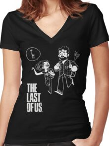 The Last of Us Joel Ellie and Giraffe Women's Fitted V-Neck T-Shirt