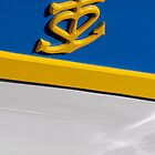 Anchor and heart symbol on side of boat, Brest 2008 maritime festival, France by silverportpics