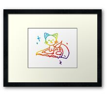 Rainbow Pizza Kitty Framed Print