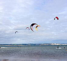 Kite Surfers at Weymouth, England by Cliff Williams