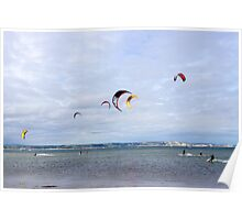 Kite Surfers at Weymouth, England Poster