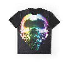 Colorful Fighter Pilot Helmet Graphic T-Shirt