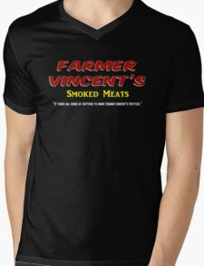 Farmer Vincent's Smoked Meats Mens V-Neck T-Shirt