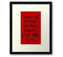 Knowledge is Power (red) Framed Print
