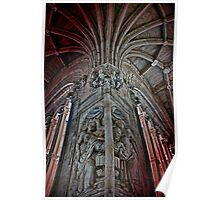 Spain. Salamanca. San Esteban Church. Cloisters. Sculpture. Poster