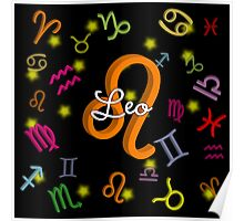Leo Floating Zodiac Sign Poster