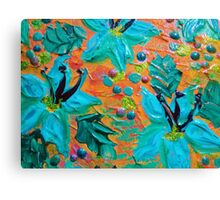 BLOOMING BEAUTIFUL 2 - Modern Abstract Acrylic Tropical Floral Painting, Home Decor Gift for Her Canvas Print