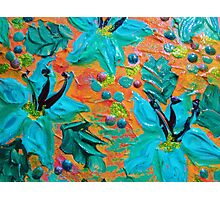 BLOOMING BEAUTIFUL 2 - Modern Abstract Acrylic Tropical Floral Painting, Home Decor Gift for Her Photographic Print